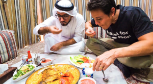 Mark Weins trying local food in Dubai