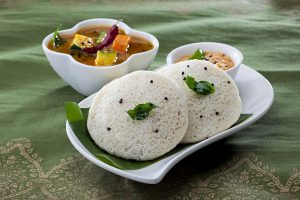 Idli with Sambhar and Coconut Chutney